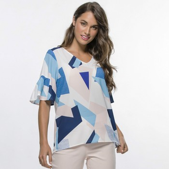 Ruffle Sleeve Graphic Print Top
