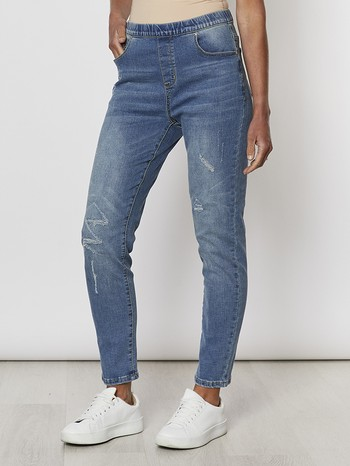 Distressed Pull On Jeans