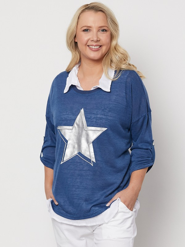 Star Print 2 in 1 Knit Top