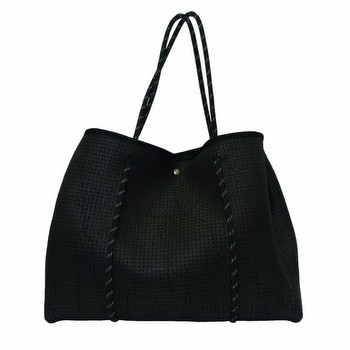 The Textured Neoprene Tote by Threadz is the ultimate carry-all.                                                                                                 Perfect for your everyday use this stylish bag is super light weight                                                                                             and roomy. In a punch textured neoprene with contrasting straps                                                                                                  this bag also includes a matching inner purse with zip for easy                                                                                                  organisation. So versatile it's just as easy to use an your daily handbag, or                                                                                    doubles as a sports bag, beach bag, shopping bag or baby bag.                                                                                                    Simple snap closure and snap studs at the sides to shape.                                                                                                        Measures approx 36cm across x 14cm wide x 20cm height.
